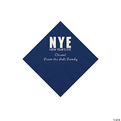 Navy New Year's Eve Personalized Napkins with Silver Foil - Beverage Image Thumbnail