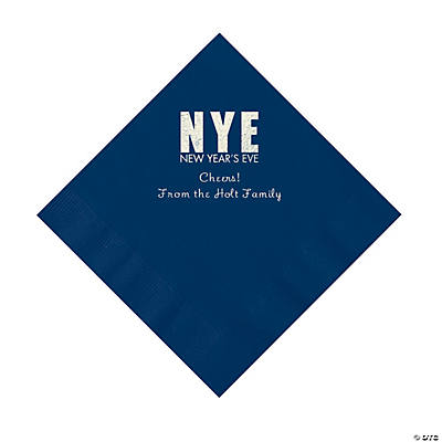 Navy New Year's Eve Personalized Napkins with Silver Foil - Luncheon Image Thumbnail