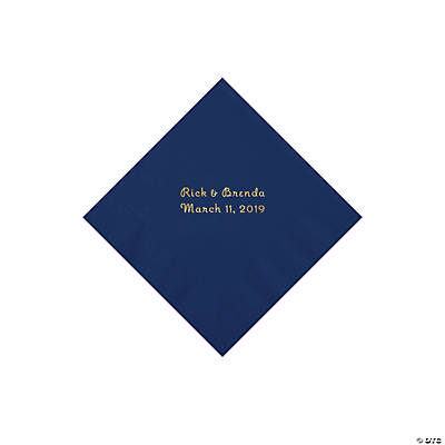 Navy Personalized Napkins with Gold Foil - Beverage