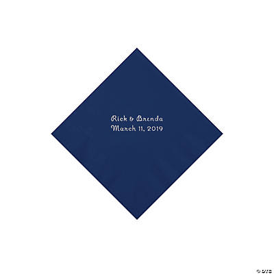 Navy Personalized Napkins with Silver Foil - Beverage Image Thumbnail
