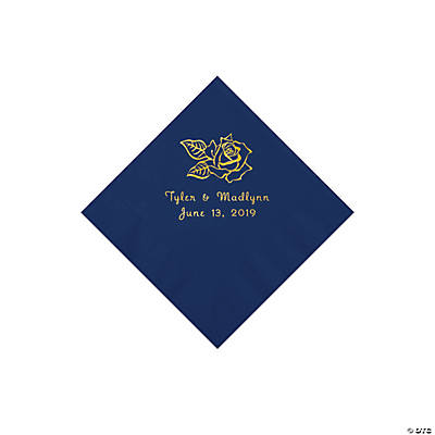 Navy Rose Personalized Napkins with Gold Foil - Beverage Image Thumbnail