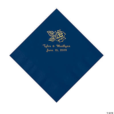 Navy Rose Personalized Napkins with Gold Foil - Luncheon Image Thumbnail