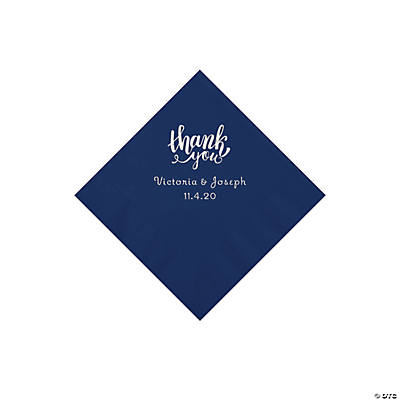 Navy Thank You Personalized Napkins with Silver Foil - Beverage Image Thumbnail