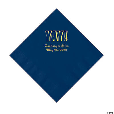 Navy Yay Personalized Napkins with Gold Foil - Luncheon Image Thumbnail