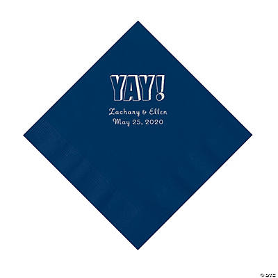 Navy Yay Personalized Napkins with Silver Foil - Luncheon Image Thumbnail