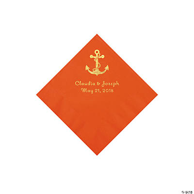 Orange Anchor Personalized Napkins with Gold Foil - Beverage Image Thumbnail