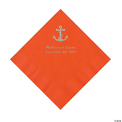 Orange Anchor Personalized Napkins with Silver Foil - Luncheon Image Thumbnail