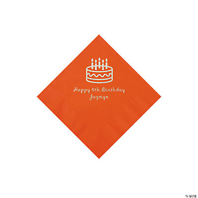 Orange Birthday Cake Personalized Napkins with Silver Foil - Beverage Image Thumbnail