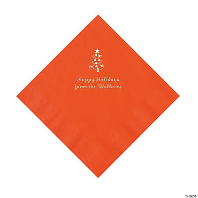 Orange Christmas Tree Personalized Napkins with Silver Foil – Luncheon Image Thumbnail