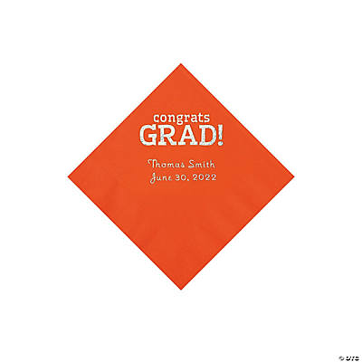 Orange Congrats Grad Personalized Napkins with Silver Foil - Beverage Image Thumbnail