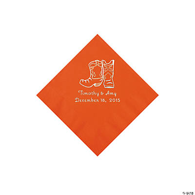 Orange Cowboy Boots Personalized Napkins with Silver Foil - Beverage Image Thumbnail