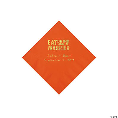 Orange Eat Drink & Be Married Personalized Napkins with Gold Foil - Beverage Image Thumbnail