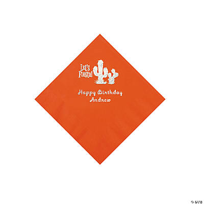 Orange Fiesta Personalized Napkins with Silver Foil - Beverage Image Thumbnail