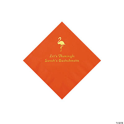 Orange Flamingo Personalized Napkins with Gold Foil - Beverage
