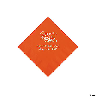Orange Happy Ever After Personalized Napkins - Beverage Image Thumbnail