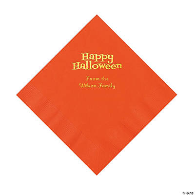 Orange Happy Halloween Personalized Napkins with Gold Foil - Luncheon Image Thumbnail