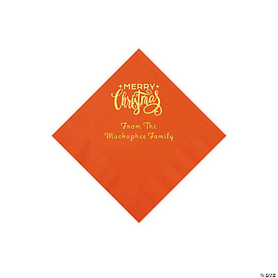 Orange Merry Christmas Personalized Napkins with Gold Foil - Beverage Image Thumbnail
