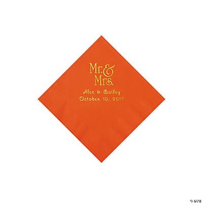 Orange Mr. & Mrs. Personalized Napkins with Gold Foil - Beverage Image Thumbnail