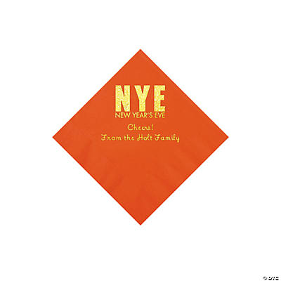 Orange New Year's Eve Personalized Napkins with Gold Foil - Beverage Image Thumbnail