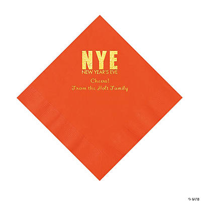 Orange New Year's Eve Personalized Napkins with Gold Foil - Luncheon Image Thumbnail
