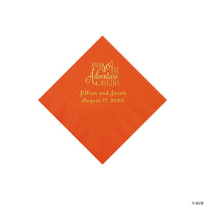 Orange The Adventure Begins Personalized Napkins with Gold Foil - Beverage Image Thumbnail