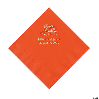 Orange The Adventure Begins Personalized Napkins with Silver Foil - Luncheon Image Thumbnail