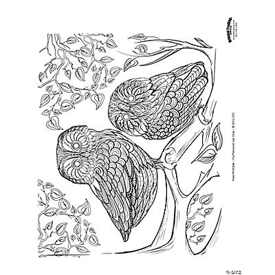 Owl Scene Adult Coloring Page Free Printable