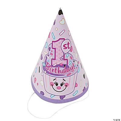 Paper 1st Birthday Cupcake Cone Hats