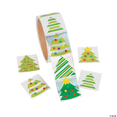 Foil Christmas Tree.Paper Foil Christmas Tree Stickers