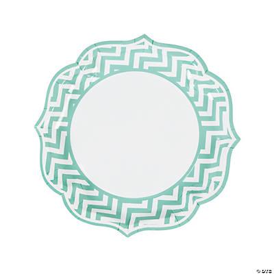 sc 1 st  Fun Express & Paper Mint Green Chevron Scalloped Edge Dinner Plates