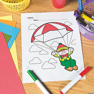 Parachute Elf Free Printable Coloring Page Oriental Trading
