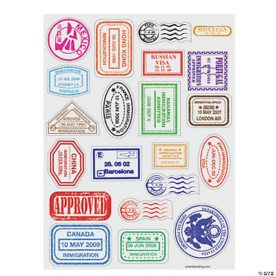 Craft Pack: 1,440 Stickers Fun Express Passport Stamp Sticker Sheets