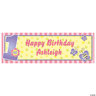 Pastel Pink Personalized 1st Birthday Banner - Medium Image Thumbnail
