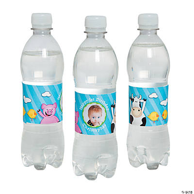 Personalized 1st Birthday Farm Party Photo Water Bottle Labels Image Thumbnail