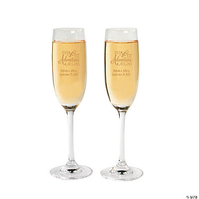 Personalized Adventure Wedding Champagne Flutes