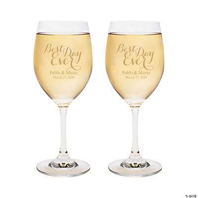 Personalized Best Day Ever Wine Glasses Image Thumbnail