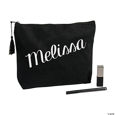 Personalized Black Canvas Makeup Bag Image Thumbnail