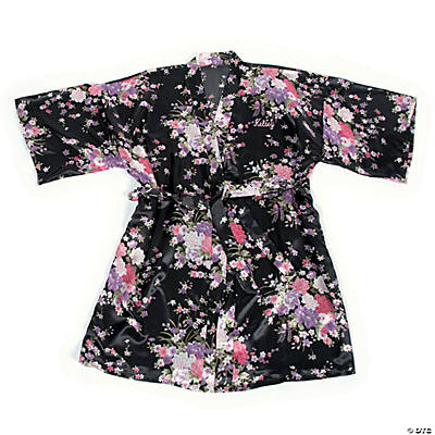 Personalized Black Floral Robe Image Thumbnail