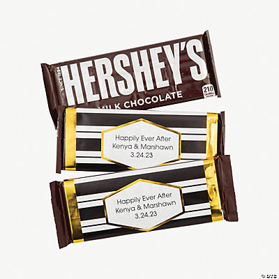 Personalized Black, White & Gold Stripe Candy Bar Sticker Labels Image Thumbnail