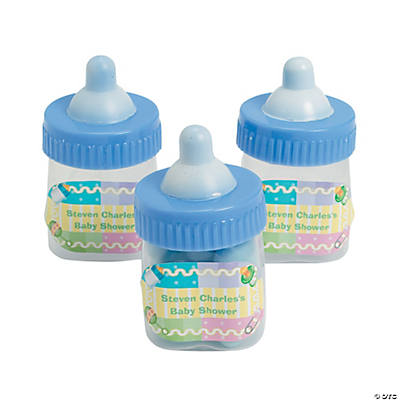 Personalized Blue Baby Bottle Favor Containers Image Thumbnail