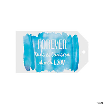 Personalized Blue Watercolor Favor Tags