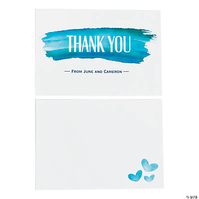 Personalized Blue Watercolor Thank You Cards Image Thumbnail