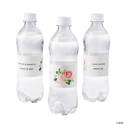 Personalized Blush Floral Water Bottle Labels Image Thumbnail