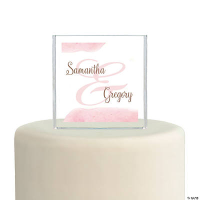 Personalized Blush Square Cake Topper