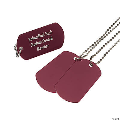 Personalized Burgundy Dog Tag Necklaces Image Thumbnail