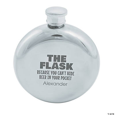 Personalized Can't Hide Beer Round Flask