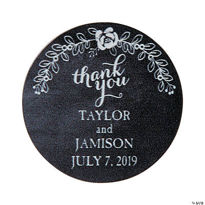Personalized Chalkboard Floral Wedding Thank You Stickers