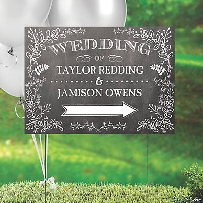Personalized Chalkboard Floral Yard Sign Image Thumbnail