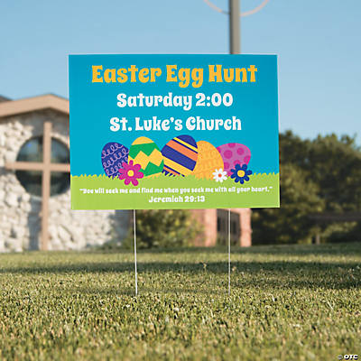 Personalized Church Easter Egg Hunt Yard Sign Image Thumbnail