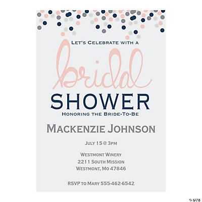 Personalized Confetti Bridal Shower Invitations Image Thumbnail